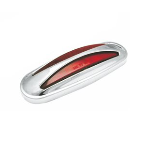 "PETERBILT AUXILIARY LIGHT, 12 LED, RED, W / CHROME PLASTIC ""HOT DOG"" BEZEL"
