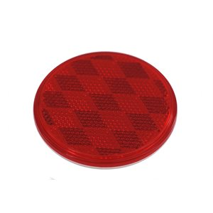 "REFLECTOR, 3-3 / 16"" ROUND, RED LENS, ADHESIVE-BACKED"