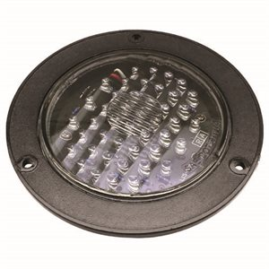 """4"""" ROUND TURN LAMP, AMBER / CLEAR LENS-FLANGE MNT"""