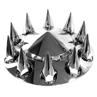 LJ INTERNATIONAL Front Axle Cover A-4ABS33-MS Cam Lock Chrome Spike