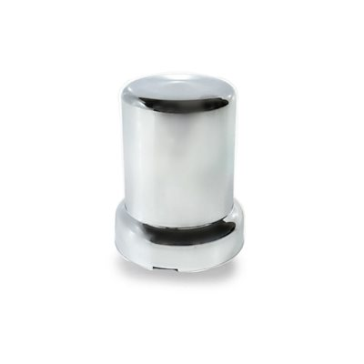 LUG NUT COVER, 33mm ROUND W / FLANGE, CHROME PLASTIC