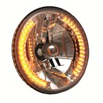 "HEADLIGHT, HB2 / LED COMBO, 7"" ROUND, HI / LOW BEAM w / Amber park"