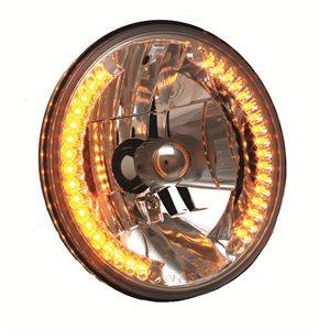 "HEADLIGHT, HB2 / LED COMBO, 7"" ROUND, HI / LOW BEAM w / Amber park"
