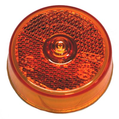 "2.5"" ROUND MARKER LIGHT, INCANDESCENT, AMBER, WITH REFLEX, W / O BOSS"
