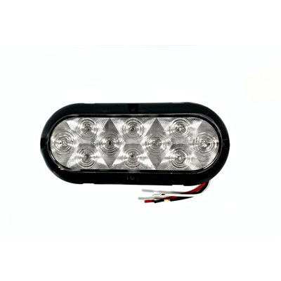 """6"""" OVAL, STOP / TAIL / INDICATOR CLEAR LAMP W / 10 RED DIODE (SURFACE MNT)"""