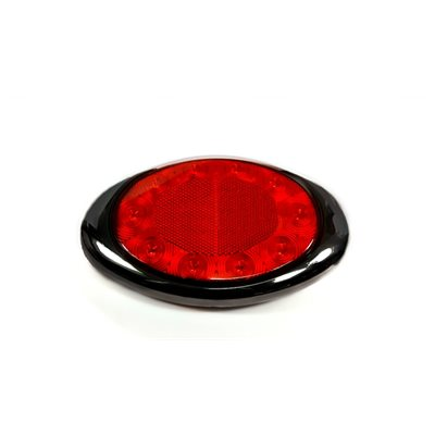 """7-1 / 8"""" OVAL -STOP / TAIL / INDICATOR LIGHT, 10 RED DIODE W / REFLECTOR LENS"""