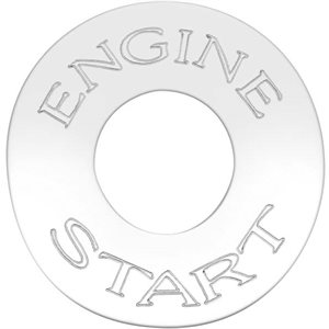PETERBILT SWITCH PLATE, ENGINE START (ROUND SHAPED)