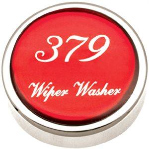 PB KNOB, WIPER / WASHER, CHROME W / 379 LOGO IN RED