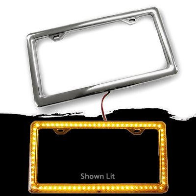 LED / CHROME LICENSE PLATE FRAME - AMBER